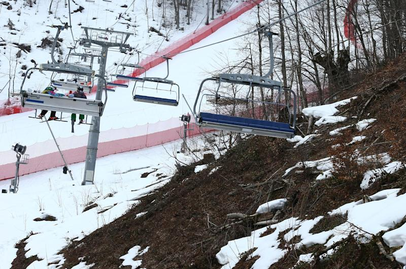 An inter-mingling of snow and brown patches are seen near the alpine course at the Sochi 2014 Winter Olympics, Tuesday, Feb. 11, 2014, in Krasnaya Polyana, Russia. Warm temperatures in the mountains made the snow too soft and caused the cancellation of Women's downhill training on Tuesday. (AP Photo/Alessandro Trovati)