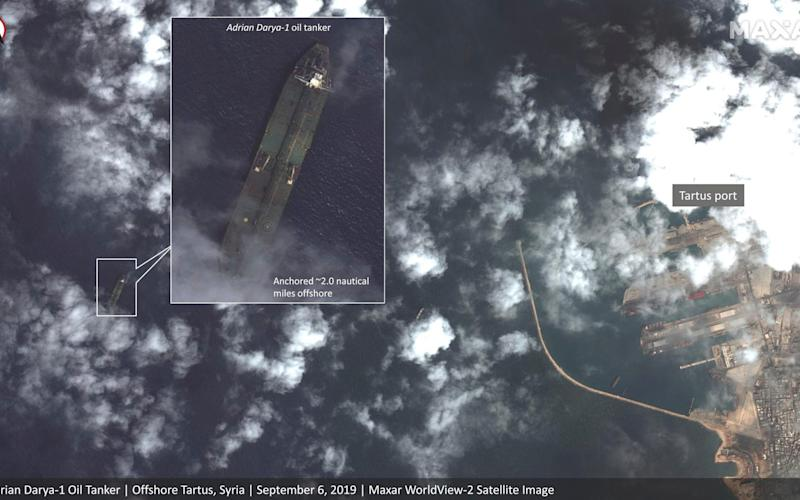 Satellite images allegedly show the Iranian oil tanker off the coast of Syria in early September - Satellite image '2019 Maxar Technologies