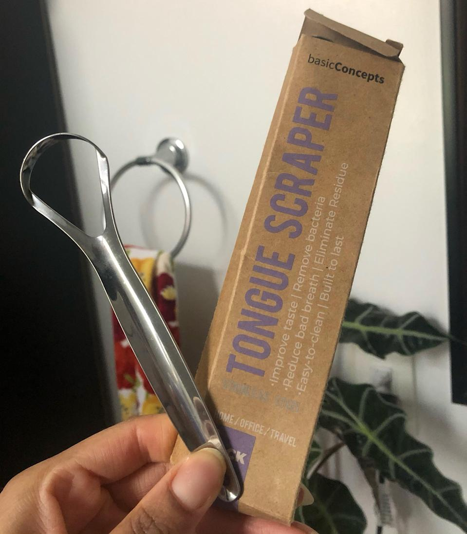 """<h2>Basic Concepts Tongue Scraper</h2><br>""""Some people do not subscribe to this lifestyle, but I am a big fan of tongue scrapers. This pack of two is a total MVP because the stainless steel makes it easy to clean, the shape is perfect, and it honestly just gets the job done. Also, sustainability! I'd much rather clean a tongue scraper and reuse it rather than throwing away plastic ones every night and day. Twas' a good ten dollar investment."""" <em>– Alexandra Polk, Deals Writer</em><br><br><em>Shop <strong><a href=""""https://amzn.to/36F96LC"""" rel=""""nofollow noopener"""" target=""""_blank"""" data-ylk=""""slk:Amazon"""" class=""""link rapid-noclick-resp"""">Amazon</a></strong></em><br><br><strong>BASIC CONCEPTS</strong> Tongue Scraper (2 Pack), $, available at <a href=""""https://amzn.to/2YMjih4"""" rel=""""nofollow noopener"""" target=""""_blank"""" data-ylk=""""slk:Amazon"""" class=""""link rapid-noclick-resp"""">Amazon</a>"""