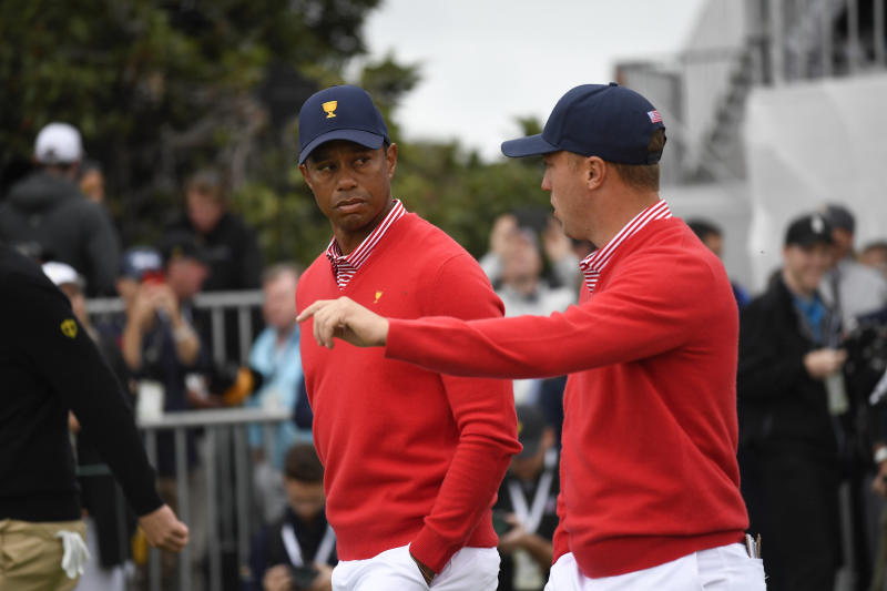 Tiger Woods and Justin Thomas got out to an early lead. (Chris Condon/PGA TOUR via Getty Images)