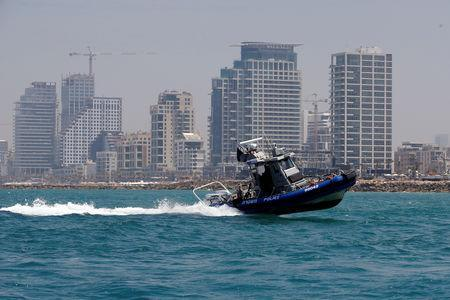 Israeli marine police patrol in the Mediterranean Sea off the coast of Tel Aviv, as part of security preparations for the 2019 Eurovision Song Contest, in Tel Aviv, Israel May 12, 2019. REUTERS/Ronen Zvulun