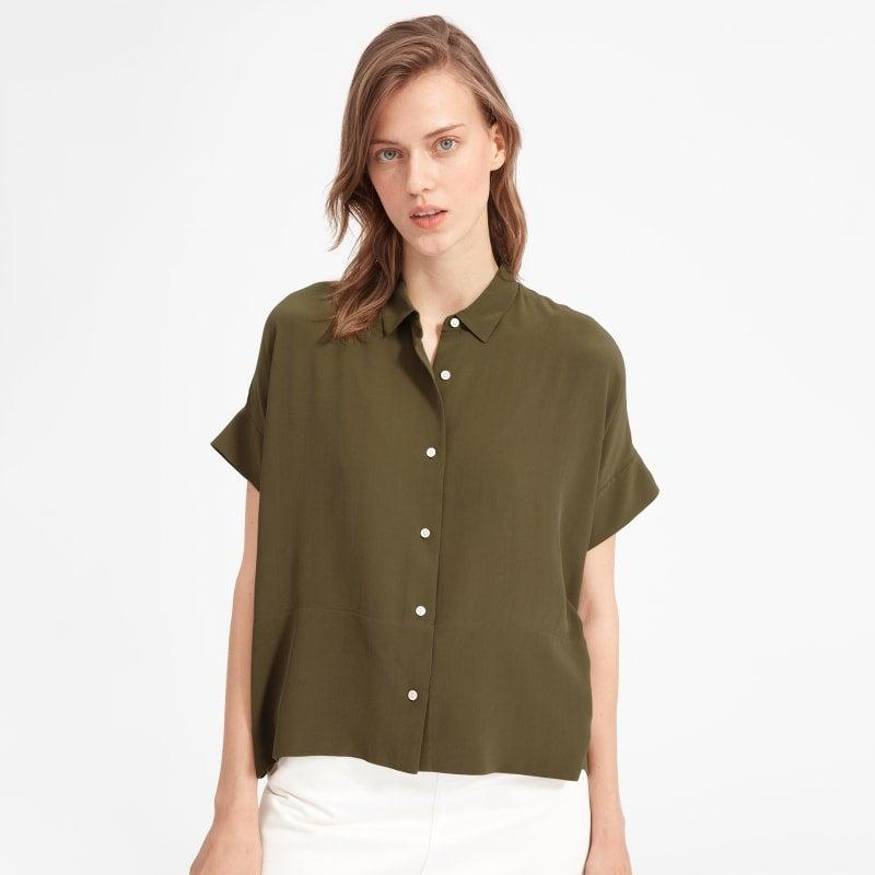"""<h2>Everlane The Drapey Square Shirt</h2><br>""""Who said you can have too many button-down shirts? Absolutely no one. Most of my summer closet consists of oversized button-downs, so what's one (or four) more? This color and the structure of this shirt is so good and unique. I can just picture it, paired with my favorite black boots."""" –<em> Mercedes Viera, Associate Deals Writer </em><br><br><em>Shop </em><a href=""""http://everlane.com"""" rel=""""nofollow noopener"""" target=""""_blank"""" data-ylk=""""slk:Everlane"""" class=""""link rapid-noclick-resp""""><em>Everlane</em></a><br><br><strong>Everlane</strong> The Clean Silk Short-Sleeve Square Shirt, $, available at <a href=""""https://go.skimresources.com/?id=30283X879131&url=https%3A%2F%2Fwww.everlane.com%2Fproducts%2Fwomens-clean-slk-sq-shirt-surplus%3Fcollection%3Dwomens-tops"""" rel=""""nofollow noopener"""" target=""""_blank"""" data-ylk=""""slk:Everlane"""" class=""""link rapid-noclick-resp"""">Everlane</a>"""