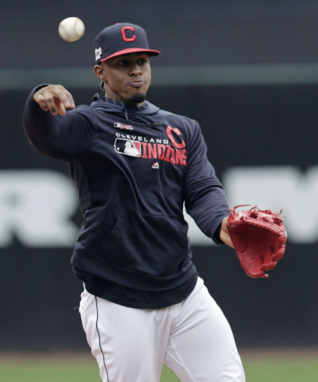 Cleveland Indians' Francisco Lindor throws to first base during batting practice before the first game of a baseball doubleheader against the Atlanta Braves, Saturday, April 20, 2019, in Cleveland. Lindor is back after missing the season's first 18 games. (AP Photo/Tony Dejak)