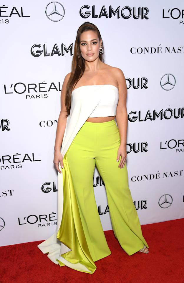 <p>The 31-year-old star worked a Christian Siriano ensemble, comprising lime green trousers and a cascading tube top. <em>[Photo: Getty]</em> </p>