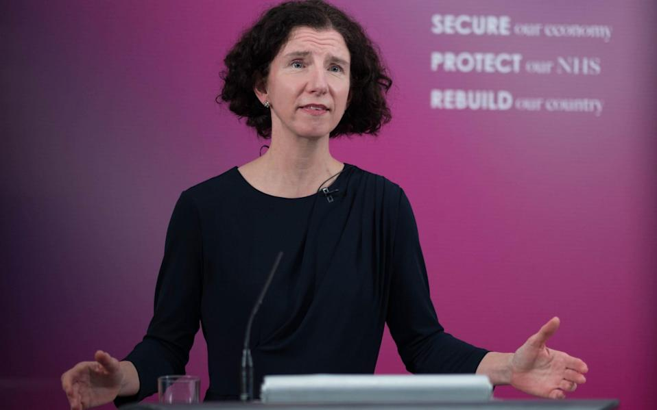 Shadow chancellor Anneliese Dodds at Labour Party headquarters in London, virtually delivers the annual Mais lecture to the City of London's Cass Business School - Stefan Rousseau/PA