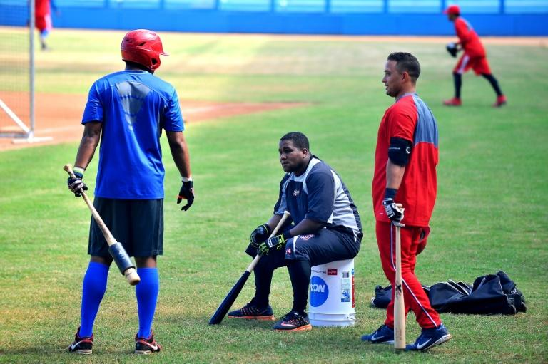 Cuban players train for the World Baseball Classic at the Latin American stadium in Havana, on February 15, 2017
