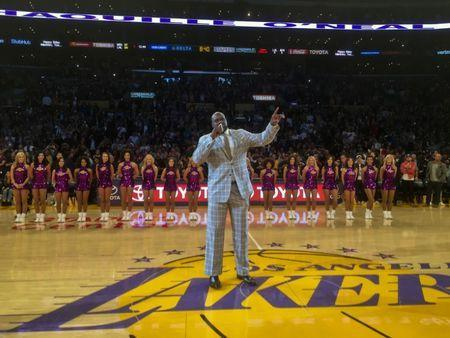 Mar 24, 2017; Los Angeles, CA, USA: Former Los Angeles Lakers center Shaquille O'Neal speaks during a NBA game between the Los Angeles Lakers and the Minnesota Timberwolves at the Staples Center. Mandatory Credit: Kirby Lee-USA TODAY Sports