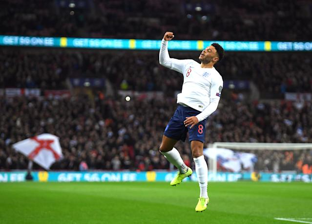 Alex Oxlade-Chamberlain scored his first England goal for over two years. (Photo by Mike Hewitt/Getty Images)