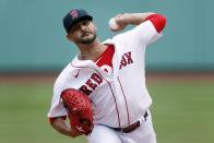 Boston Red Sox's Martin Perez pitches against the Baltimore Orioles during the first inning of a baseball game, Saturday, July 25, 2020, in Boston. (AP Photo/Michael Dwyer)