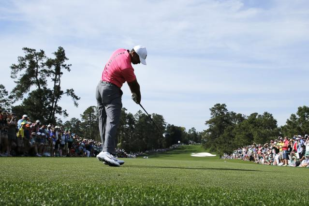 Tiger Woods of the U.S. hits off the third tee during practice for the 2018 Masters golf tournament at Augusta National Golf Club in Augusta, Georgia, U.S. April 2, 2018. REUTERS/Jonathan Ernst