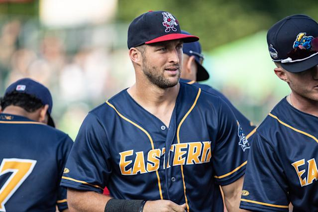 """Whether or not Tim Tebow has value on the field, <a class=""""link rapid-noclick-resp"""" href=""""/mlb/teams/nym"""" data-ylk=""""slk:Mets"""">Mets</a> GM and Tebow's former agent <span>Brodie Van Wagenen realizes he has value for the franchise. (Getty)</span>"""