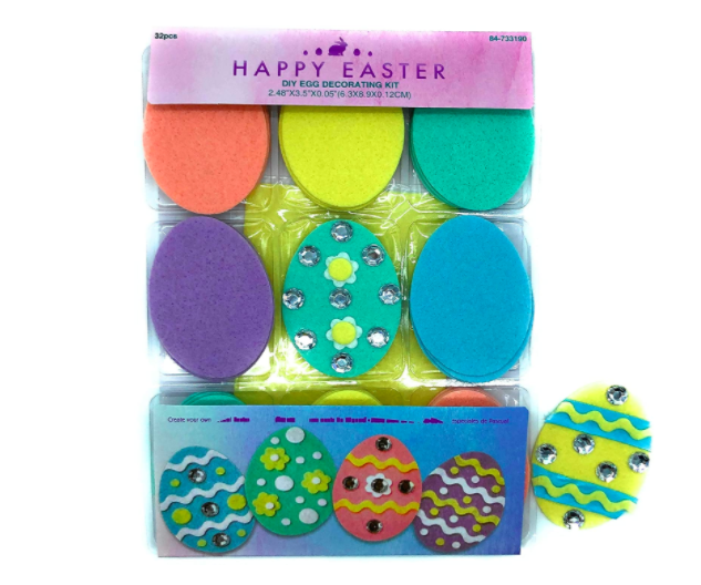 """<p><strong>Eggceptionally Easter</strong></p><p>amazon.com</p><p><strong>$10.22</strong></p><p><a href=""""https://www.amazon.com/dp/B07P7BRR31?tag=syn-yahoo-20&ascsubtag=%5Bartid%7C10070.g.2189%5Bsrc%7Cyahoo-us"""" rel=""""nofollow noopener"""" target=""""_blank"""" data-ylk=""""slk:Shop Now"""" class=""""link rapid-noclick-resp"""">Shop Now</a></p><p>Another creative alternative to messy egg dyeing, this Easter egg decorating kit includes 32 felt eggs, as well as plenty of rhinestones, ribbons, and felt shapes for decorating. </p>"""