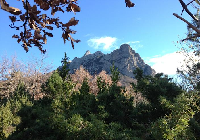 """Foliage frames the Bugarach mountain peak in southern France, Monday, Dec. 10, 2012. From Russia to California, thousands are preparing for the fateful day, when many believe a 5,125-year cycle known as the Long Count in the Mayan calendar supposedly comes to an end. The Internet has helped feed the frenzy, spreading rumors that a mountain in the French Pyrenees is hiding an alien spaceship that will be the sole escape from the destruction. French authorities are blocking access to Bugarach peak from Dec. 19-23 except for the village's 200 residents """"who want to live in peace,"""" the local prefect said in a news release. (AP Photo/Nicolas Garriga)"""
