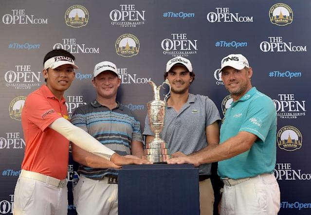 "(FILES) This file handout photograph taken and released by the Asian Tour on December 13, 2015 shows Open Championship qualifiers (L to R) Phachara Khongwatmai of Thailand, Jamie Donaldson of Wales, Clement Sordet of France and Lee Westwood of England posing following the final round of the Thailand Golf Championship at the Amata Spring Country Club in Chonburi. Teenage Thai sensation Phachara Khongwatmai was pinching himself December 14, 2015 after sensationally qualifying for next year's British Open with a stunning final round at the Thailand Golf Championship. AFP PHOTO / FILES / Paul Lakatos / Asian Tour ----EDITORS NOTE---- RESTRICTED TO EDITORIAL USE - MANDATORY CREDIT - ""AFP PHOTO / FILES / Paul Lakatos / Asian Tour"" - NO MARKETING NO ADVERTISING CAMPAIGNS - DISTRIBUTED AS A SERVICE TO CLIENTS (AFP Photo/PAUL LAKATOS)"