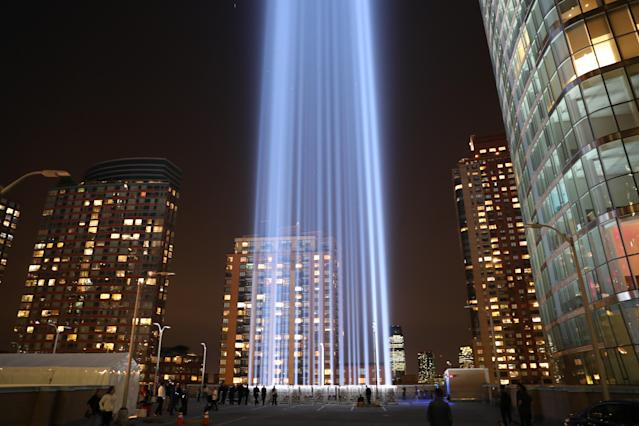 <p>The Tribute in Light rises above the New York City skyline from the rooftop of where the installation was projected on Sept. 11, 2017, the 16th anniversary of the 2001 terrorist attacks. (Gordon Donovan/Yahoo News) </p>