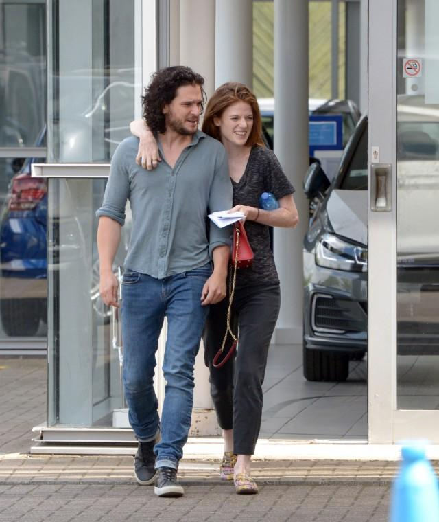 Kit Harington and Rose Leslie car shop in London on July 11, 2018.