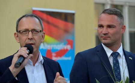 Right-wing party AfD candidate Sebastian Wippel and AfD Saxony party leader Joerg Urban react after the announcement of the results of the runoff mayoral election in Goerlitz