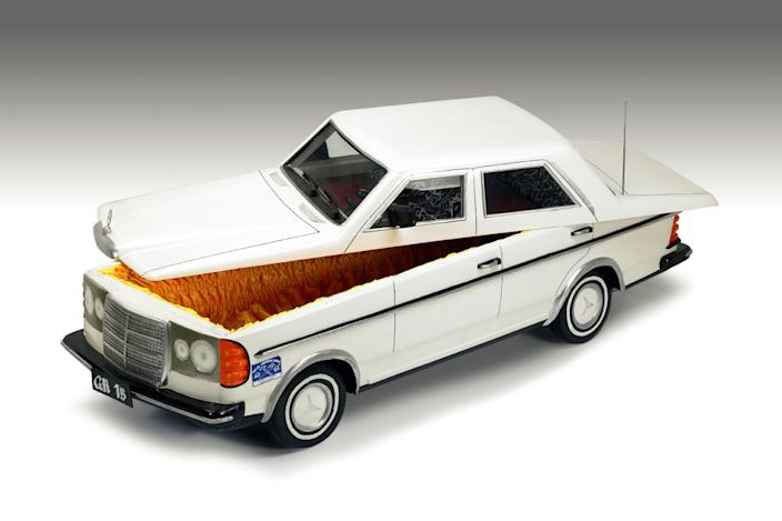 A coffin in the shape of a Mercedes car. (Photo: Caters News)