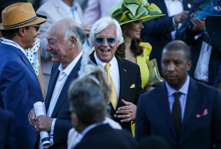 Trainer Bob Baffert reacts in the Winner's Circle after Medina Spirit won the 147th Kentucky Derby Saturday. May 1, 2021
