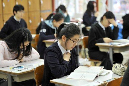 South Korean students prepare to take the College Scholastic Ability Test, a standardised exam for college entrance