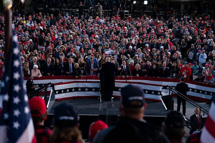 "President Donald Trump speaks during a campaign rally at Bemidji Regional Airport in Bemidji, Minn., Sept. 18, 2020 <span class=""copyright"">Evan Vucci—AP</span>"