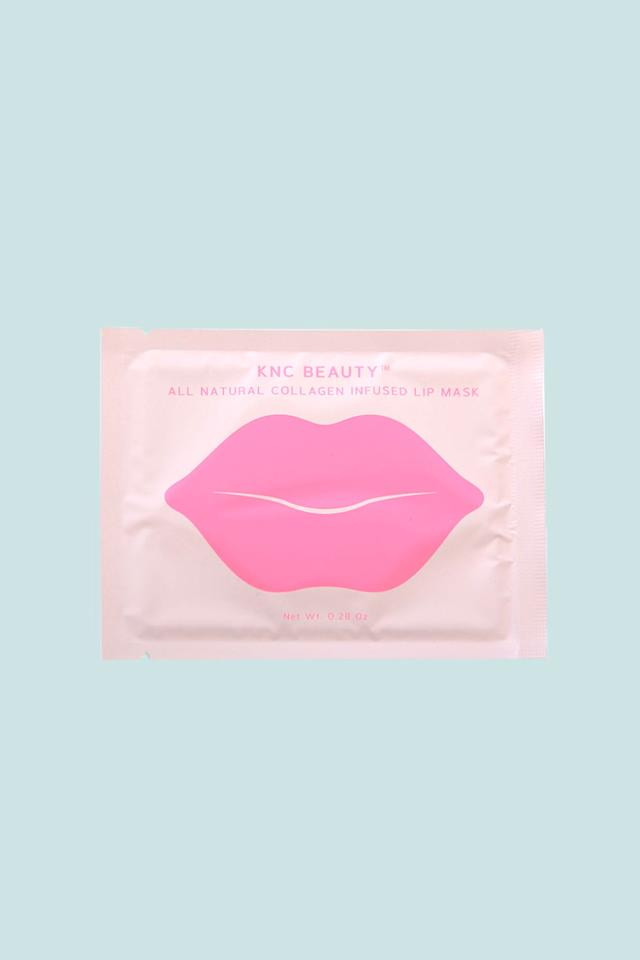 """<p>If you're a stickler foringredient lists, you'll be impressed by this all-natural elixir infused withbitter cherry extract, rose flower oil, vitamin E, and lots o' hyaluronic acid. The first beauty offering from KNC Beauty founderKristen Noel Crawley, Kim Kardashian is already a devoted fan.</p><p><br></p><p>KNC Beauty All Natural Collagen Infused Lip Mask (5 Pack), $24.99; <a rel=""""nofollow"""" href=""""https://kncbeauty.com/products/all-natural-collagen-infused-lip-mask"""">kncbeauty.com</a>.</p>"""