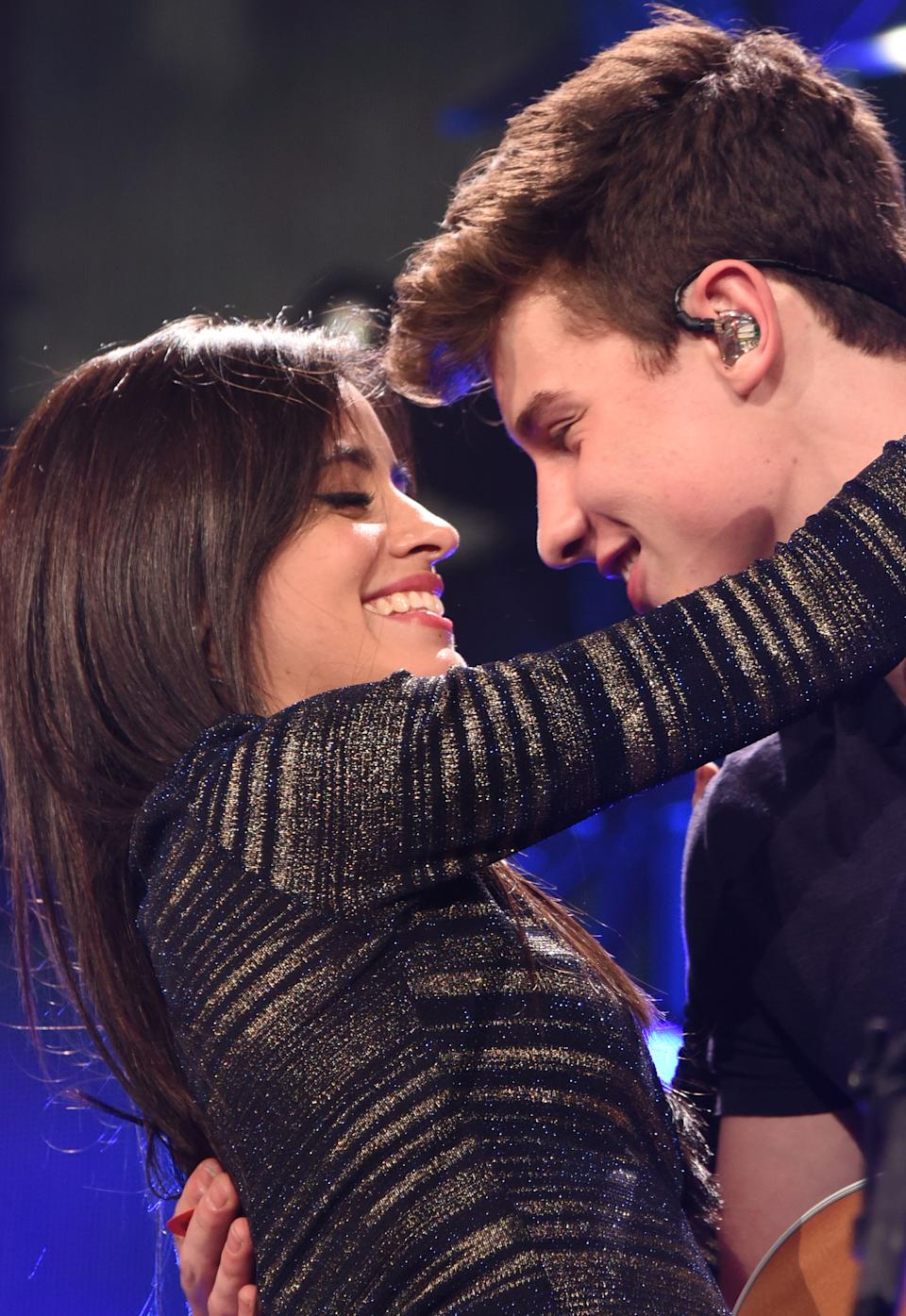 Camila Cabello and Shawn Mendes performing