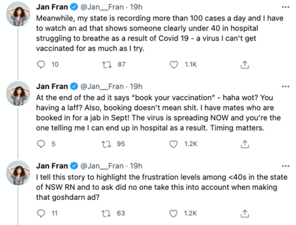 The Project host Jan Fran's tweets about the Covid vaccine. Photo: Channel 10.