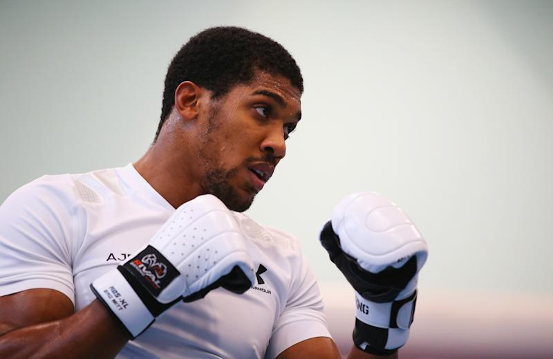 SHEFFIELD, ENGLAND - SEPTEMBER 12: Anthony Joshua takes part in a training session during the Anthony Joshua Media Day at English Institute of Sport on September 12, 2018 in Sheffield, England. (Photo by Alex Livesey/Getty Images)