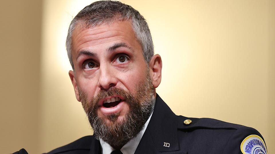DC Metropolitan Police Officer Michael Fanone testifies before the House Select Committee investigating the January 6 attack on the U.S. Capitol on July 27, 2021 at the Canon House Office Building in Washington, DC. (Chip Somodevilla/Getty Images)