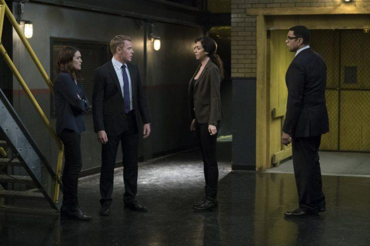 Megan Boone as Elizabeth Keen, Diego Klattenhoff as Donald Ressler, Marno, Harry Lennix as Harold Cooper (Credit: Virginia Sherwood/NBC)