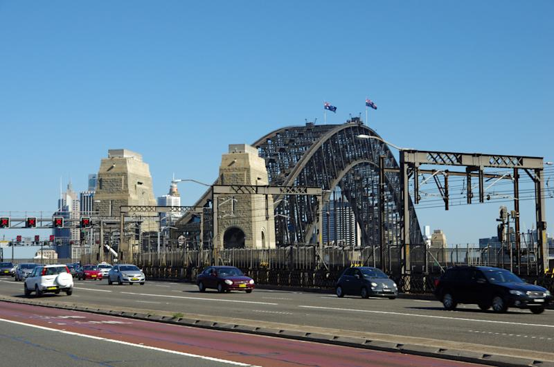 Bradfield Highway Toll Road leading onto Sydney Harbour Bridge, Milsons Point.