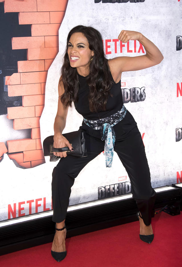 <p>Dawson flashed her best superhero look while promoting Marvel's <i>The Defenders</i> TV show. Despite the heels, she was obviously ready to rumble. (Photo: Charles Sykes/Invision/AP) </p>