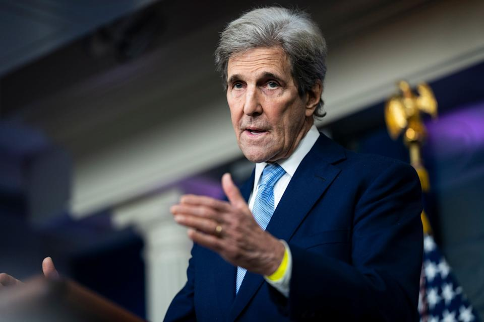 WASHINGTON, DC - APRIL 22: Special Presidential Envoy for Climate John Kerry speaks during a press briefing at the White House on Thursday, April 22, 2021 in Washington, DC. (Photo by Jabin Botsford/The Washington Post via Getty Images) (Photo: The Washington Post via Getty Images)