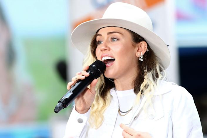 "NEW YORK - May 26, 2017: Miley Cyrus performs on the NBC ""Today"" show concert series on May 26, 2017, in New York City. - Image"