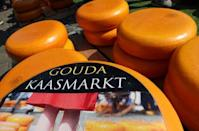 Gouda wheels are pictured at the cheese market in Gouda, Netherlands April 18, 2019. REUTERS/Yves Herman