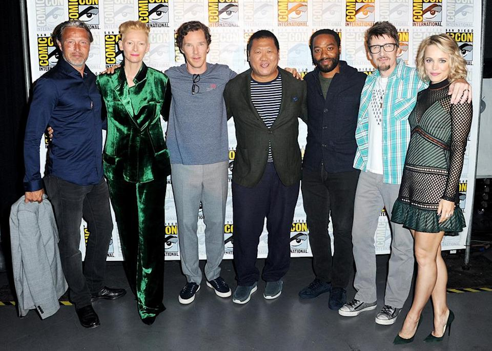 <p>Actors Mads Mikkelsen, Tilda Swinton, Benedict Cumberbatch, Benedict Wong, Chiwetel Ejiofor, director Scott Derrickson, and actress Rachel McAdams. Fans got a glimpse of a new clip from the movie and a new trailer. <i>(Photo: Albert L. Ortega/Getty Images)</i></p>
