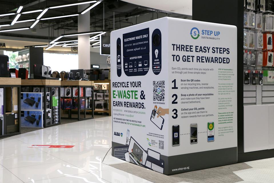 A 3-in-1 bin for recycling ICT equipment, batteries and light bulbs placed at Harvey Norman Millenia Walk. (PHOTO: NEA)