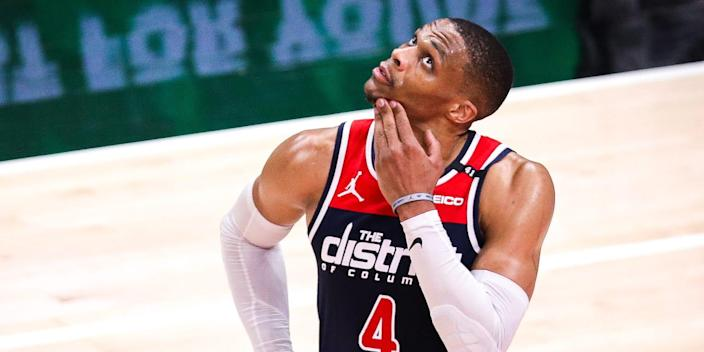 Russell Westbrook looks up during a game in 2021.