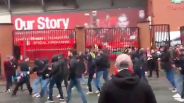Two Roma fans have been arrested for suspicion of attempted murder after violent clashes broke out wit Liverpool fans before their Champions League clash. Source: Twitter/ Dan Roan