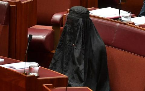Senator Pauline Hanson wears a burqa in the Senate chamber at Parliament House in Canberra - Credit: REUTERS