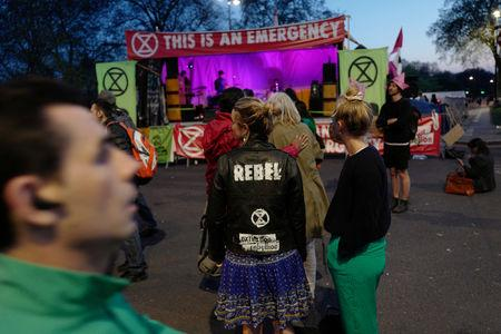 Climate change activists at Marble Arch attend the Extinction Rebellion protest in London, Britain April 20, 2019. REUTERS/Kevin Coombs