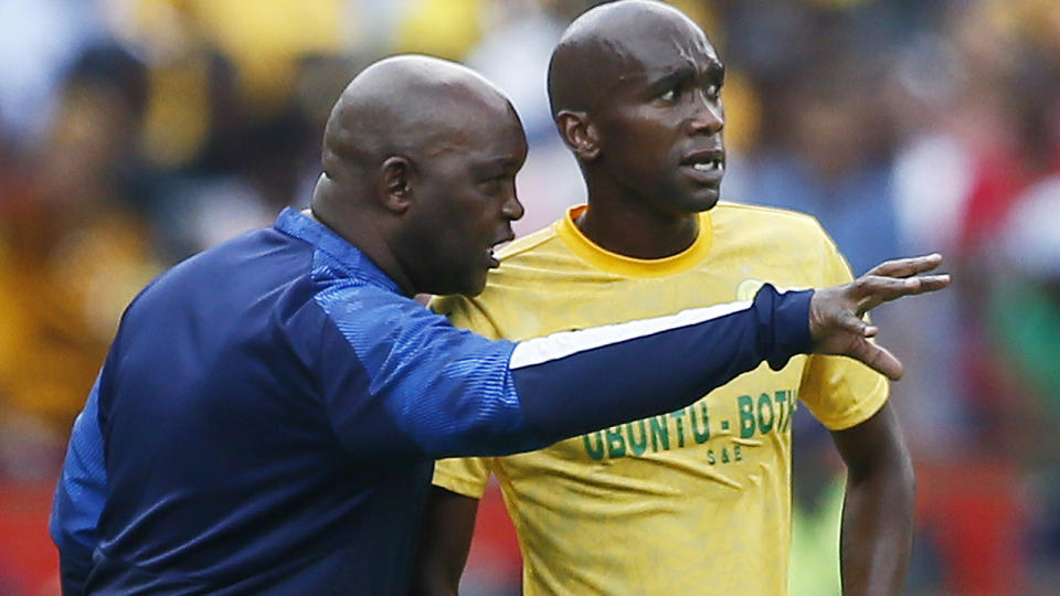Pitso Mosimane and Anele Ngcongca, pictured here during a match in 2019.