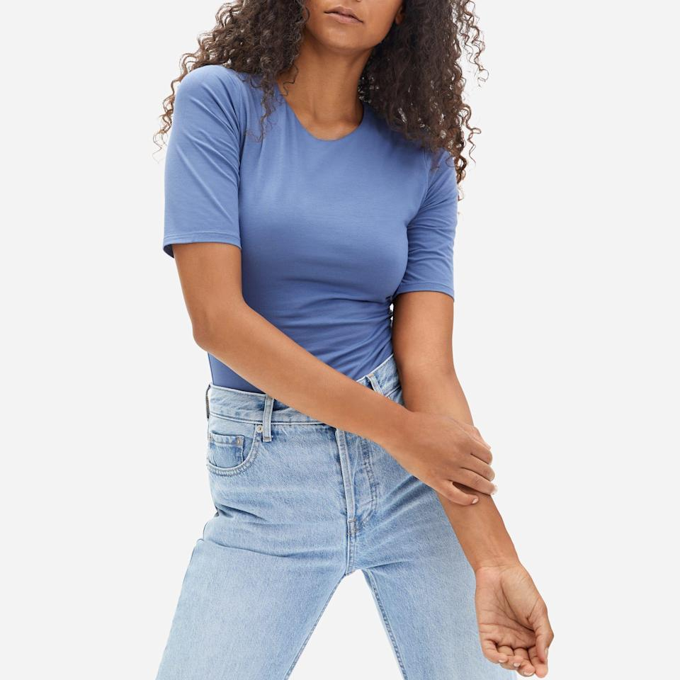 """<p><strong>Everlane</strong></p><p>everlane.com</p><p><a href=""""https://go.redirectingat.com?id=74968X1596630&url=https%3A%2F%2Fwww.everlane.com%2Fproducts%2Fwomens-ss-crew-neck-bodysuit-french-blue&sref=https%3A%2F%2Fwww.seventeen.com%2Ffashion%2Fg35089866%2Feverlane-end-of-year-sale-2020%2F"""" rel=""""nofollow noopener"""" target=""""_blank"""" data-ylk=""""slk:SHOP ITR"""" class=""""link rapid-noclick-resp"""">SHOP ITR </a></p><p><strong><del>$35</del> $17 (51% off)</strong></p><p>Everyone needs a good bodysuit in their closet. Whether you pair it with jeans, a cute skirt, or cozy leggings, you'll get a lot of mileage out of this piece.</p>"""