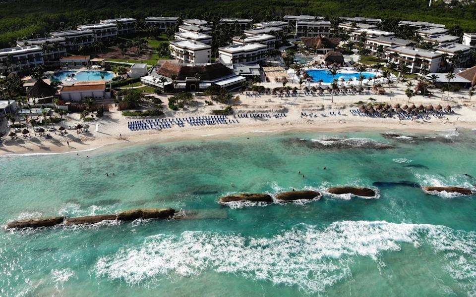 Aerial view of Bahia Principe beach, in Tulum, Quintana Roo state, Mexico. (AFP via Getty Images)