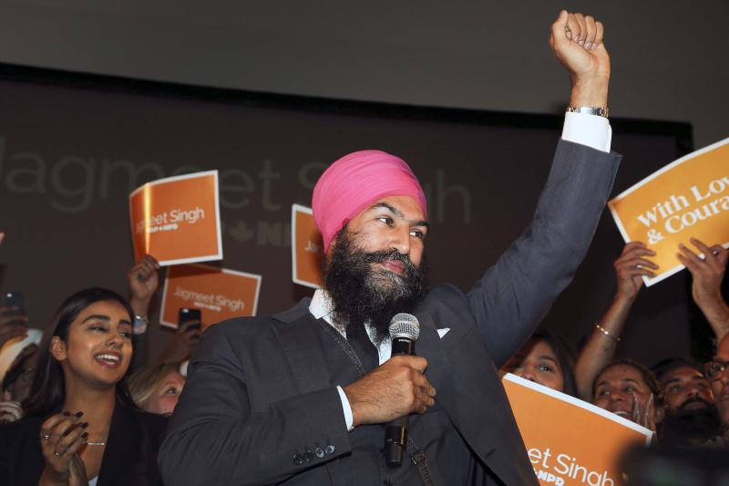 Jagmeet Singh celebrates his win as leader of the New Democratic Party on Oct. 1. 2017. (Andrew Francis Wallace/Getty Images)