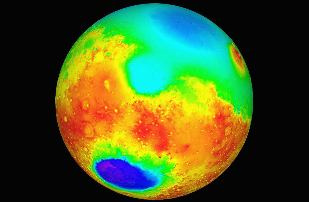 Nasa Topographic Maps Of Mars Released May 27 1999 The Maps Which Show High Altitudes As Red Yel
