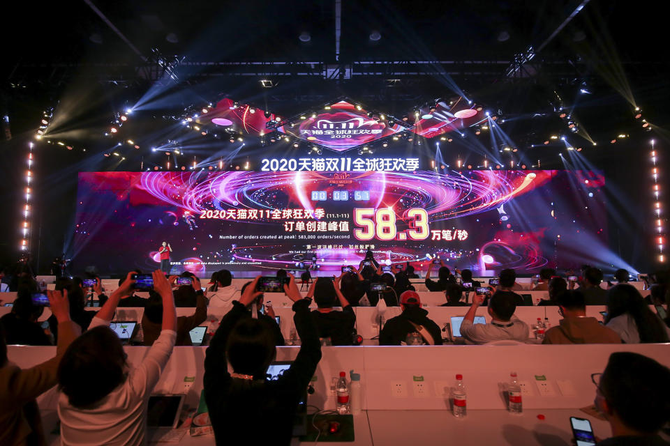 A screen shows sales information during the 2020 Tmall Global Shopping Festival on Singles' Day, also known as the Double 11 shopping festival, at a media centre in Hangzhou, in eastern China's Zhejiang province on November 11, 2020. (Photo by STR / AFP) / China OUT (Photo by STR/AFP via Getty Images)