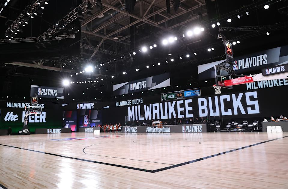ORLANDO, FL - AUGUST 26: Wide angle view of the arena before the game against the Milwaukee Bucks and the Orlando Magic during Round One, Game Five of the NBA Playoffs on August 26, 2020. Bucks players chose to sit out the game in protest. (Photo by Joe Murphy/NBAE via Getty Images)