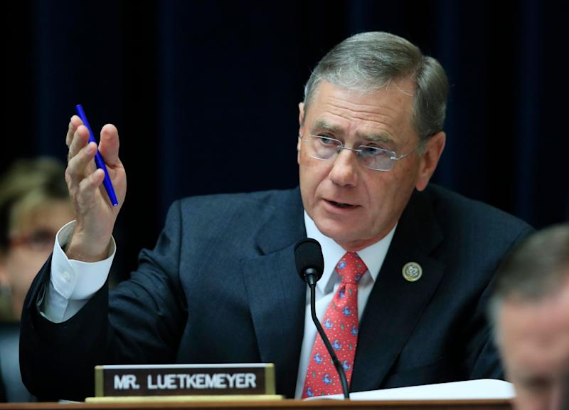 House Financial Services Committee member Rep. Blaine Luetkemeyer, R-Mo., speaks on Capitol Hill in Washington, Tuesday, May 2, 2017, during the committee's hearing hearing on overhauling the nation's financial rules. (AP Photo/Manuel Balce Ceneta)